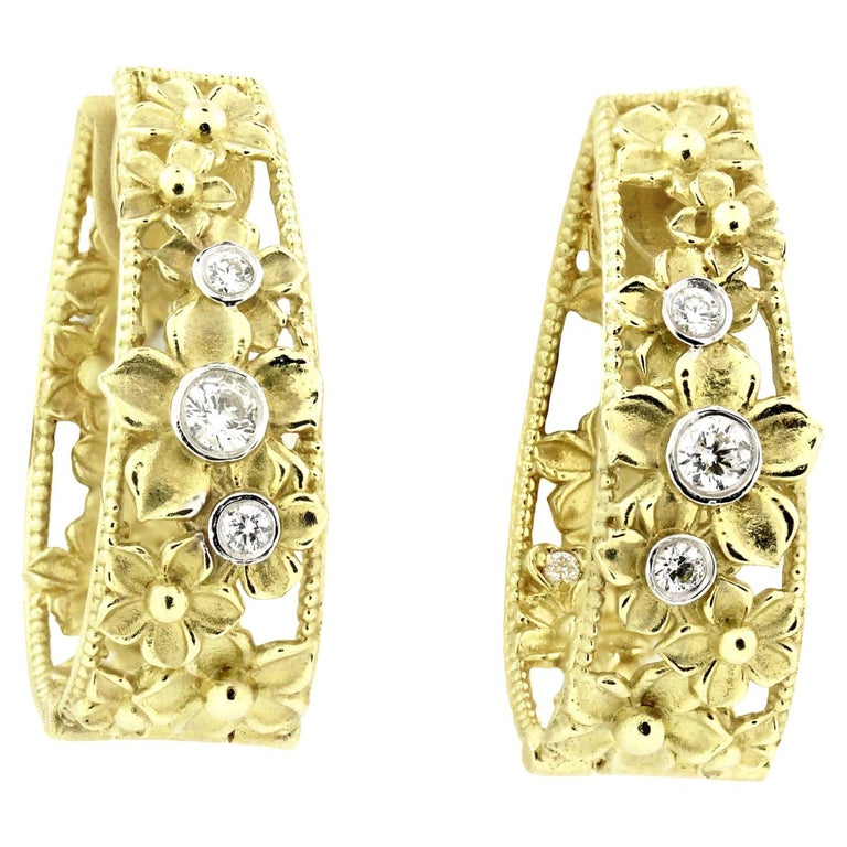 Stambolian Yellow Gold and Diamond Floral Motif Hoop Earrings
