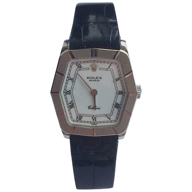 Rolex 18K White Gold Cellini Geometric Manual Wind Wristwatch