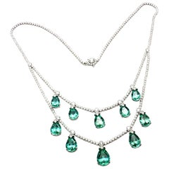Tiffany & Co. 5.25 Carat Diamond 22.46 Carat Green Tourmaline Platinum Necklace