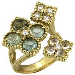 Stambolian Tourmaline Rainbow Moonstone Diamond Gold Ring