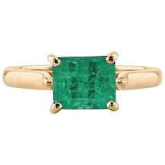 2.10 Carat Emerald Cut Emerald Ring