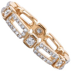 0.53 Carat Rectangle and Square Yellow Gold Eternity Band Ring