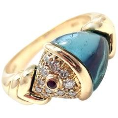 Bulgari Bvlgari Diamond Blue Topaz Ruby Yellow Gold Naturalia Fish Ring