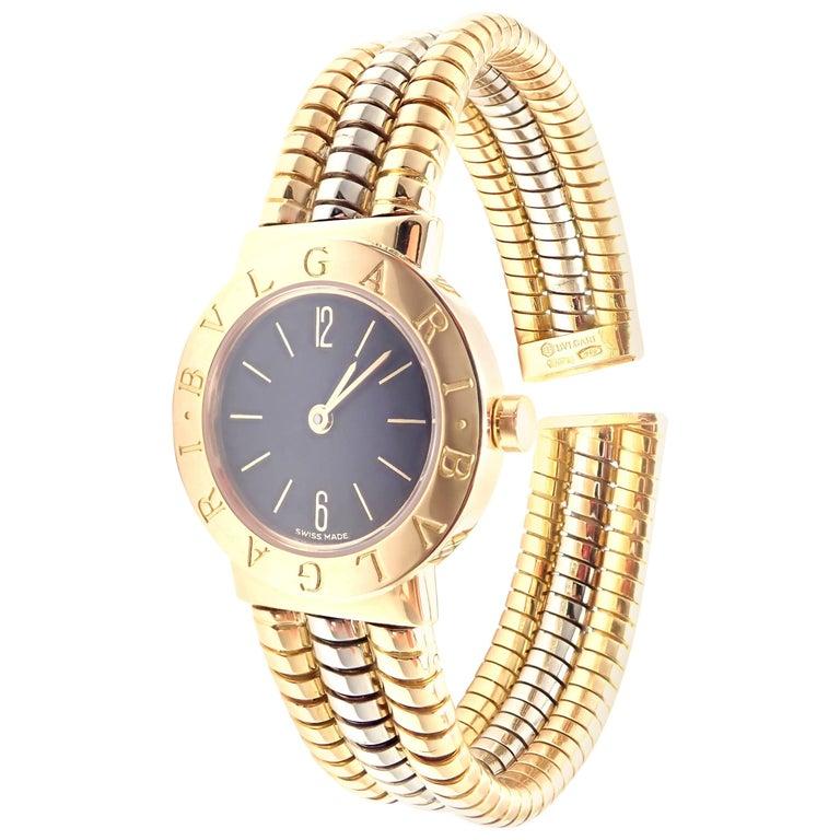 Bulgari Multicolor Gold Tubogas Serpenti Snake Bracelet Quartz Wristwatch