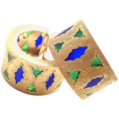 Buccellati Blue and Green Enamel Yellow Gold Hoop Earrings