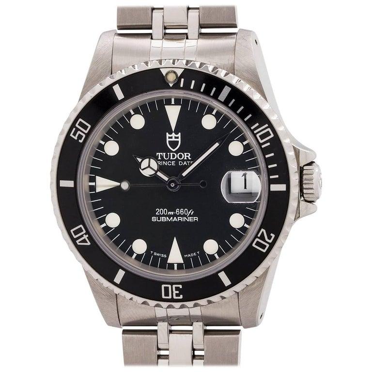 Tudor Stainless Steel Submariner self winding wristwatch Ref 75190, circa 1999