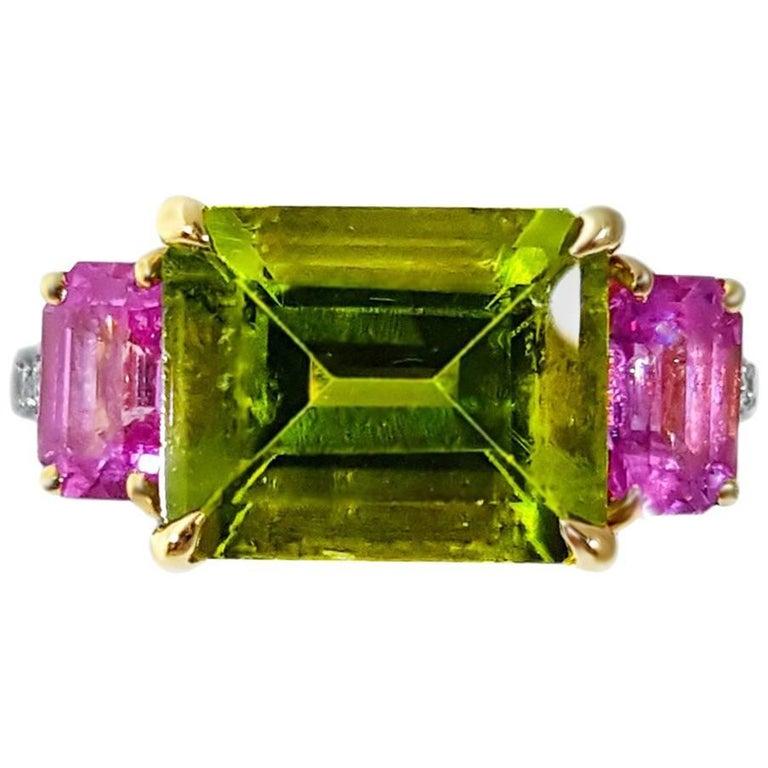 Paolo Costagli Peridot and Pink Sapphire 18 Karat Gold Ring