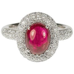 3.24 Carat Cabochon Ruby Diamond Ring