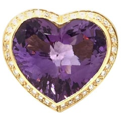 Zorab Heart Amethyst and Multi-Gem Ring in 18 Karat Yellow Gold