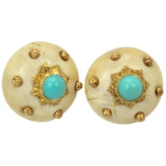Mario Buccellati 18 Karat Textured Brushed Gold Earrings Turquoise