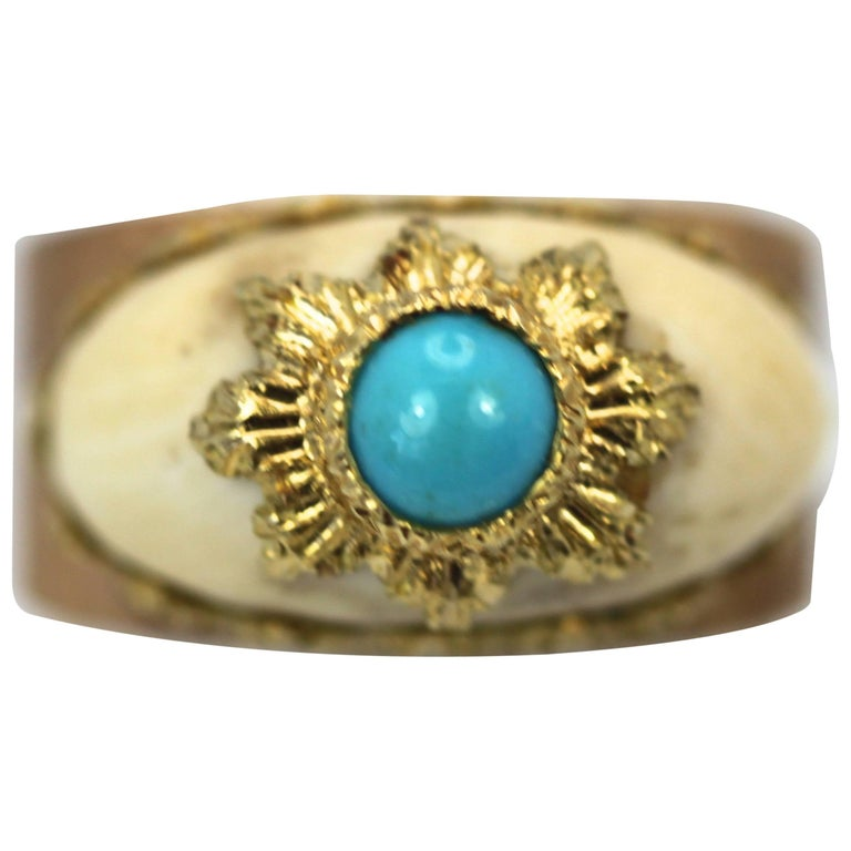 Mario Buccellati 18 Karat Textured Brushed Gold Ring Turquoise For Sale