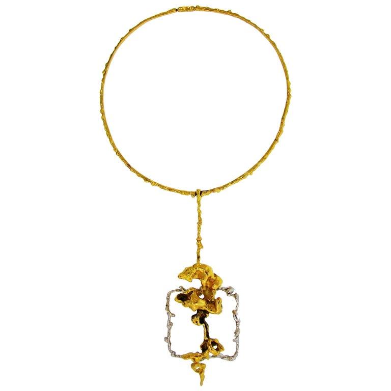 Sterle Paris Two-Tone Gold Pendant Necklace, 1950s
