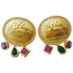 Seidengang Athena 18 Karat Gold Garnet Diopside Amethyst Drop Dangle Earrings