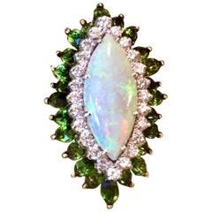 La Triomphe 18 Karat Gold Opal Diamond Tourmaline Statement Ring