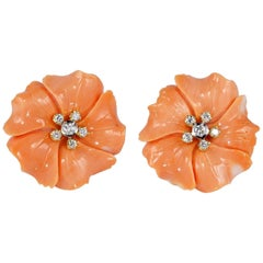 Untreated Natural Salmon Coral Diamond Flower Earrings