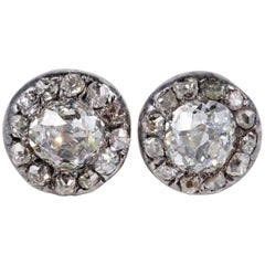 Early Victorian 2.70 Carat Diamond Rare Stud Earrings