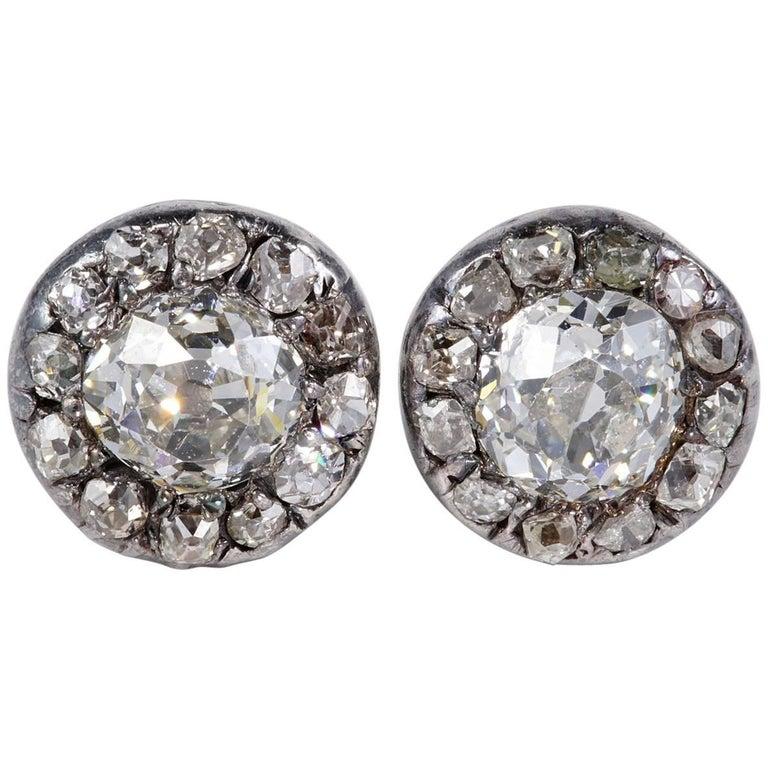Early Victorian 2.70 Carat Diamond Rare Stud Earrings