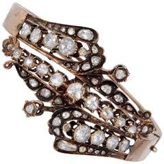 Rare Antique 6.80 Carat Diamond 16 Karat Gold Bangle