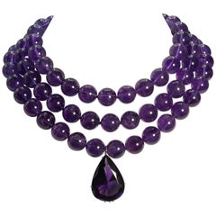 Amethyst Three-Strand Separable Bead Necklace Detachable 40 Carat Amethyst Drop
