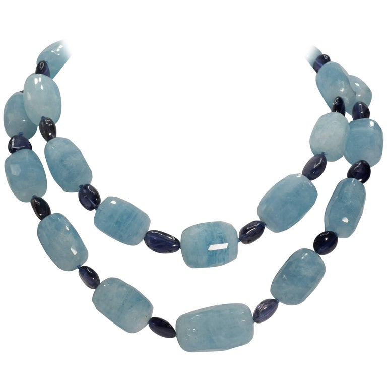 Pair Large Aquamarine and Kyanite Gold Clasp Double Separable Necklaces