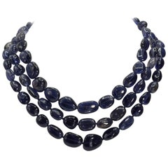 Triple Separable Blue Kyanite Diamond Clasped Necklaces
