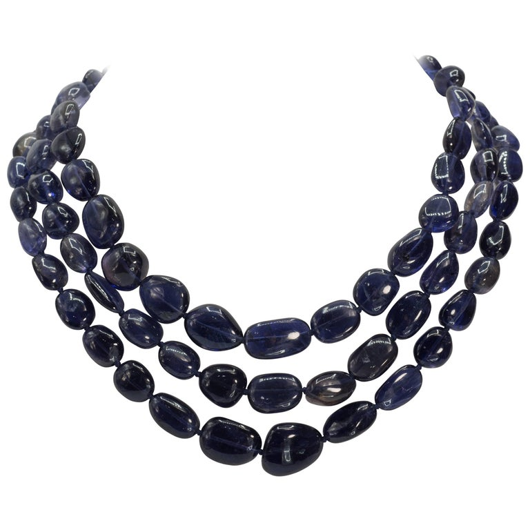Triple Separable Blue Kyanite Diamond Clasped Necklaces