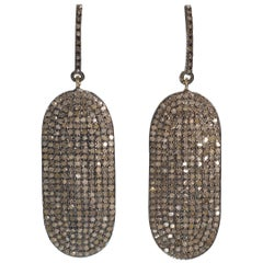 Charming Modern Antique Cut Diamond Cartouche Wire Pierced Earrings