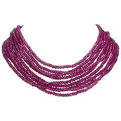 Shocking Pink Nine Strand Faceted Pink Quartz 18 Karat Gold Clasp Necklace
