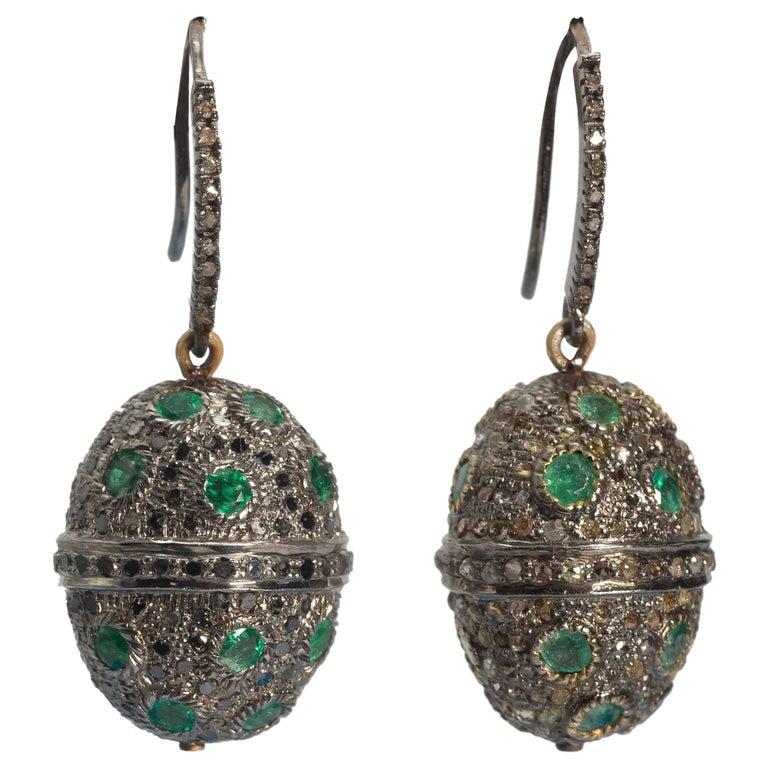 Diamond Emerald Oval Drop Earrings