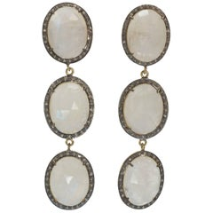 Triple Natural Faceted Moonstone Antique Cut Diamond Earrings