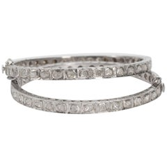 Pair of Antique Cut Diamond Contemporary Hinged Circular Bangles