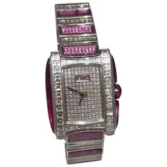 Ebel Vanua White Gold & Pave Pink and White Diamond Case & Bracelet Lady's Watch
