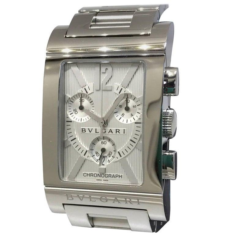 Bulgari Rettangolo Stainless Steel Silver Dial Chronograph Bracelet Men's Watch