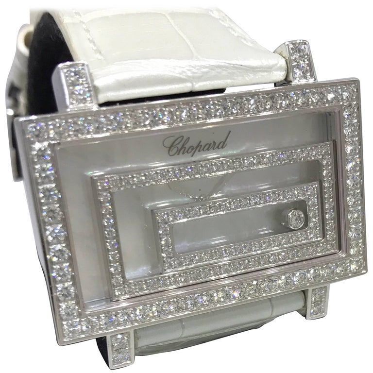 Chopard Happy Spirit 18 Karat White Gold Pave Diamond Leather Band Ladies Watch