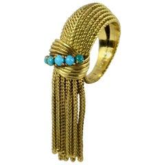 Mellerio Turquoise Gold Fringe Ring