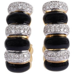 Onyx and Diamond Half Hoop Earrings