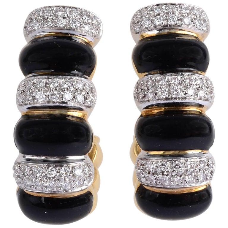 Onyx and Diamond Half Hoop Earrings