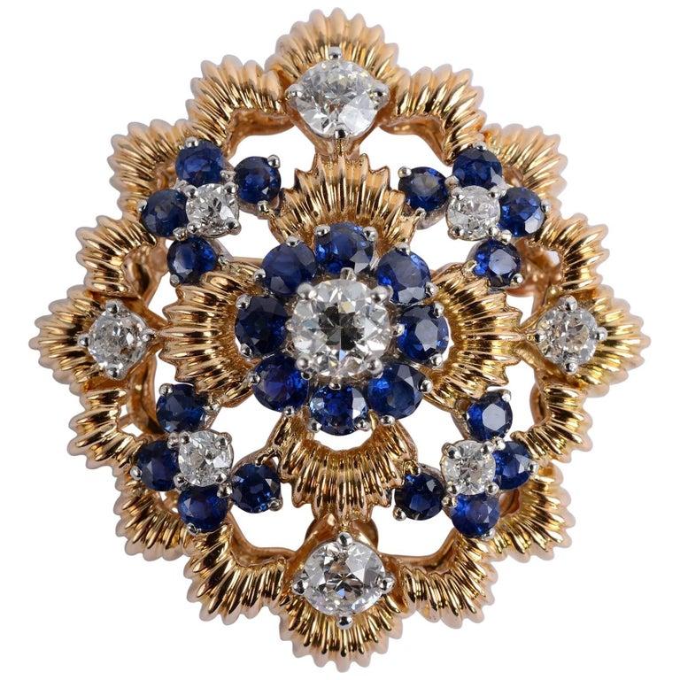 Oscar Heyman and Brothers Diamond Sapphire Pendant/Brooch