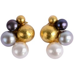Multicolor Pearl and Gold Bead Earrings
