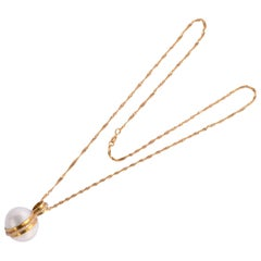 Mabe Pearl Gold Diamond Pendant Necklace