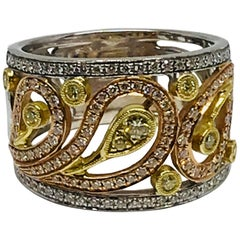 18 Karat Tri Color Gold Diamond Ring Simon G