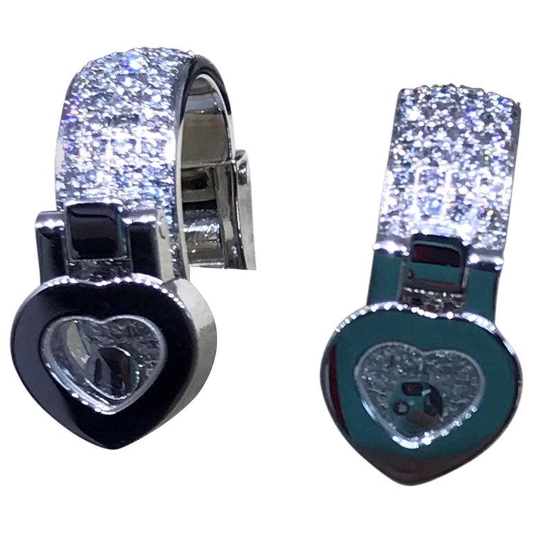 Chopard Happy Diamonds White Gold Hearts Diamond Earrings 84/6987-1001 Brand New