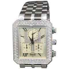 Piaget Protocole 18 Karat Gold and Diamond Chronograph Unisex Bracelet Watch