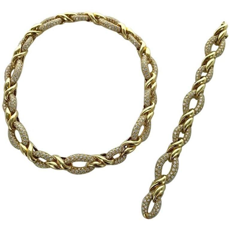 1970s Diamond and Yellow Gold Necklace Bracelet Set