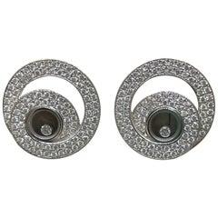Chopard Happy Diamonds White Gold Pave Diamond Earrings 83/7109-1001 Brand New