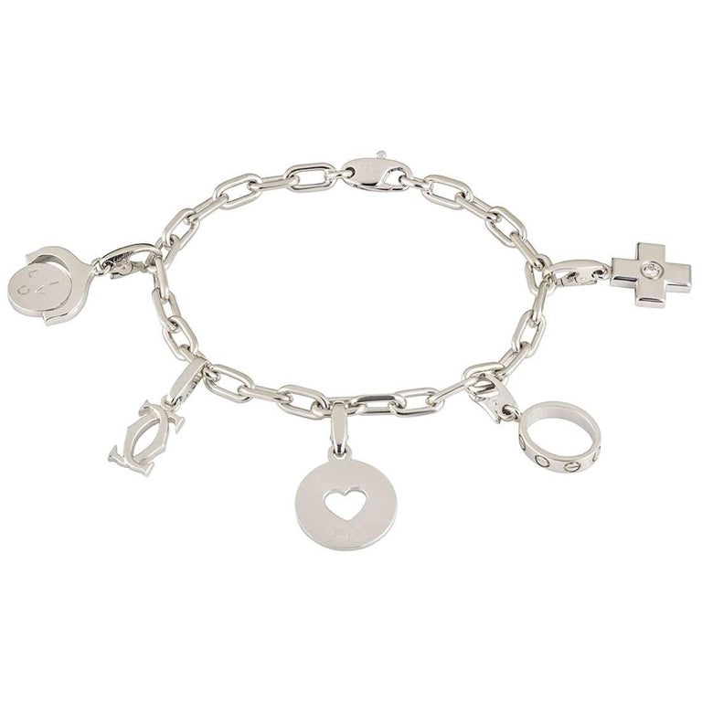 Cartier Diamond Charm Bracelet with Five Charms