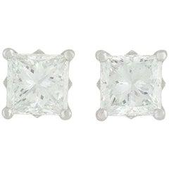De Beers Diamond Princess Cut Stud Earrings 2.04 Carat