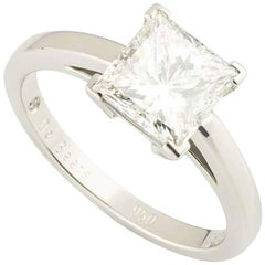 De Beers Diamond Princess Cut Solitaire Ring 2.50 Carat