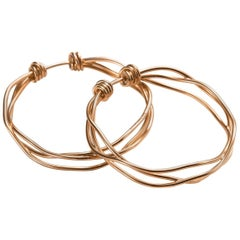 Mattioli Tibet Three-Row Hoop Earrings in 18 Karat Rose Gold