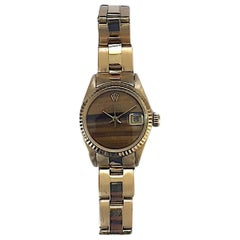 Rolex Ladies 18K Yellow Gold Tiger's Eye Datejust Automatic Wristwatch, 1970's